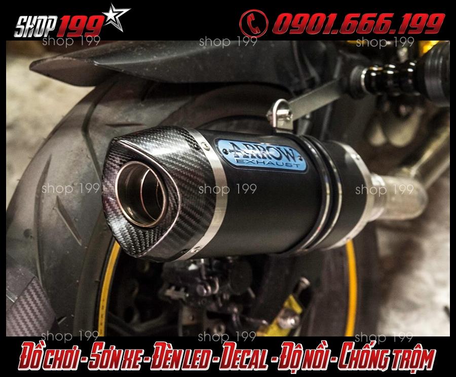 Hình ảnh Pô Arrow màu đen độ ngầu và chất cho Yamaha TFX 150i tại HCM
