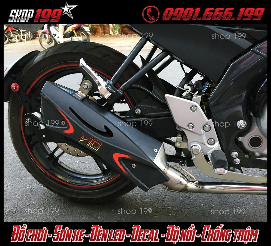 Hình ảnh: Pô R9 ốp đen độ đẹp cho xe Yamaha Fz 150i tại HCM