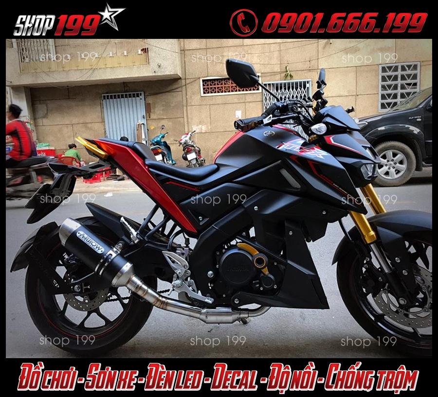 Hình ảnh pô TFX 150i màu đen độ pô Arrow màu đen ngầu và cực chất