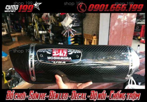 Hình ảnh Pô Yoshimura màu carbon lon dài độ cho Yamaha Fz 150i