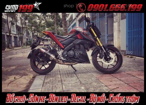 Hình ảnh: Xe Yamaha TFX 150i màu đen đỏ độ pô Yoshomura carbon đẹp và ngầu