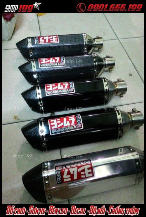 Những lon pô yoshimura màu đen, bạc, carbon độ đẹp và chất cho xe Honda SH 2017 2018 150i 125i tại HCM