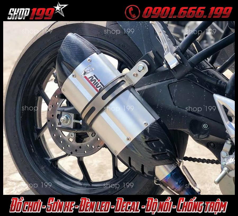 Pô Mivv màu bạc độ đẹp và chất cho xe Yamaha Tfx 150i tại HCM