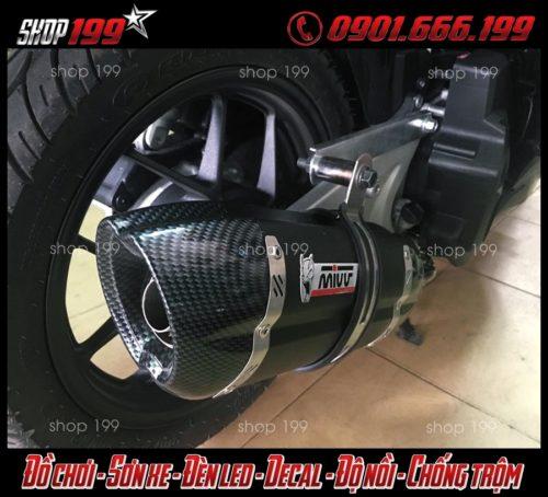 Pô Mivv màu đen đuôi phủ carbon độ đẹp cho Honda Vario 150 tại HCM
