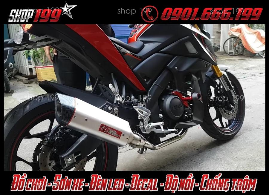 Pô R9 sang màu bạc sang chảnh độ cho Yamaha TFX 150i đỏ đen