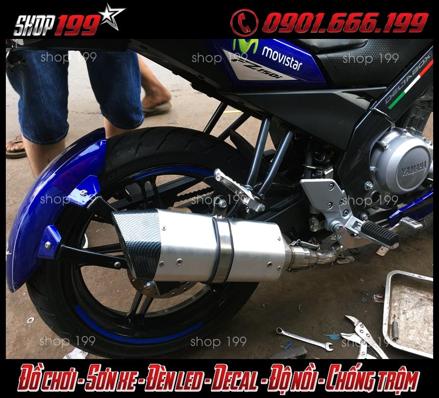 Yamaha Fz 150i độ pô R9 màu bạc đẹp và đẳng cấp