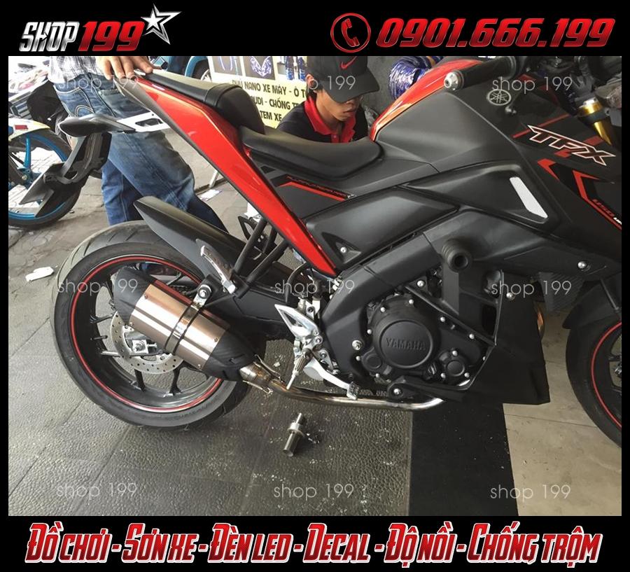 Yamaha TFX 150i màu đen đỏ độ pô Mivv đẳng cấp