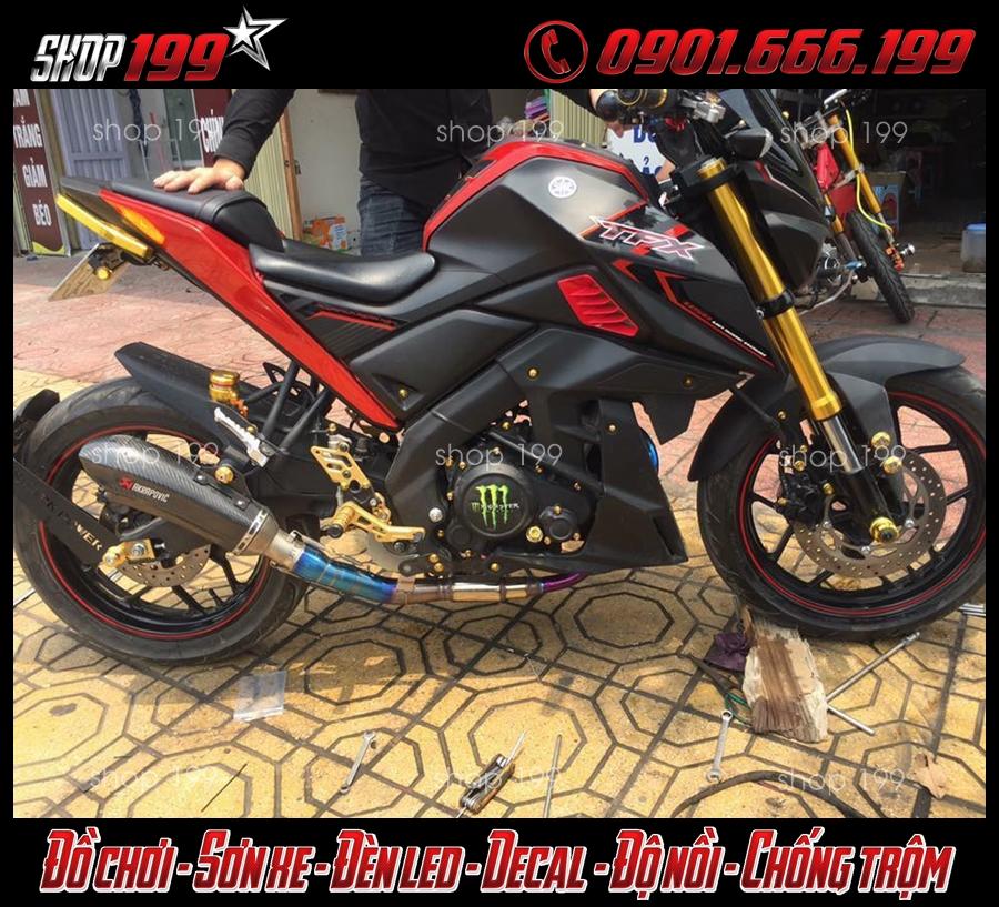 Yamaha TFX 150i màu đỏ đen độ pô Akrapovic màu carbon cổ Titan cực đẹp