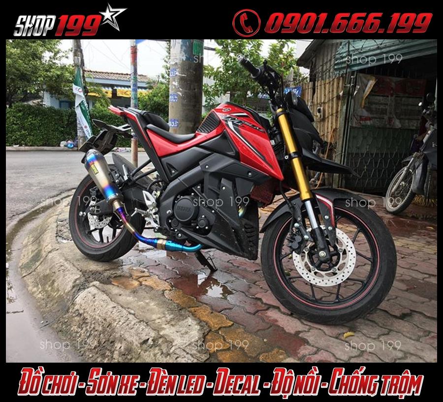 Yamaha TFX màu đỏ độ pô Akrapovic màu bạc cổ carbon đẳng cấp