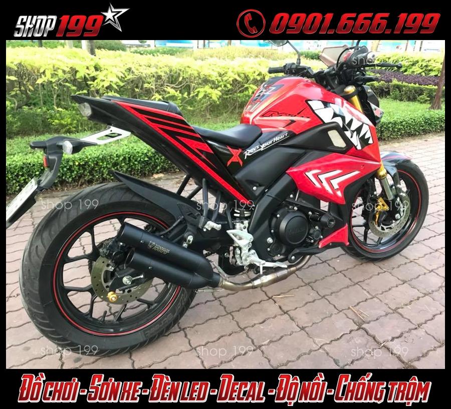 Yamaha TFX màu đỏ độ pô Mivv 2 nòng màu đen đẳng cấp
